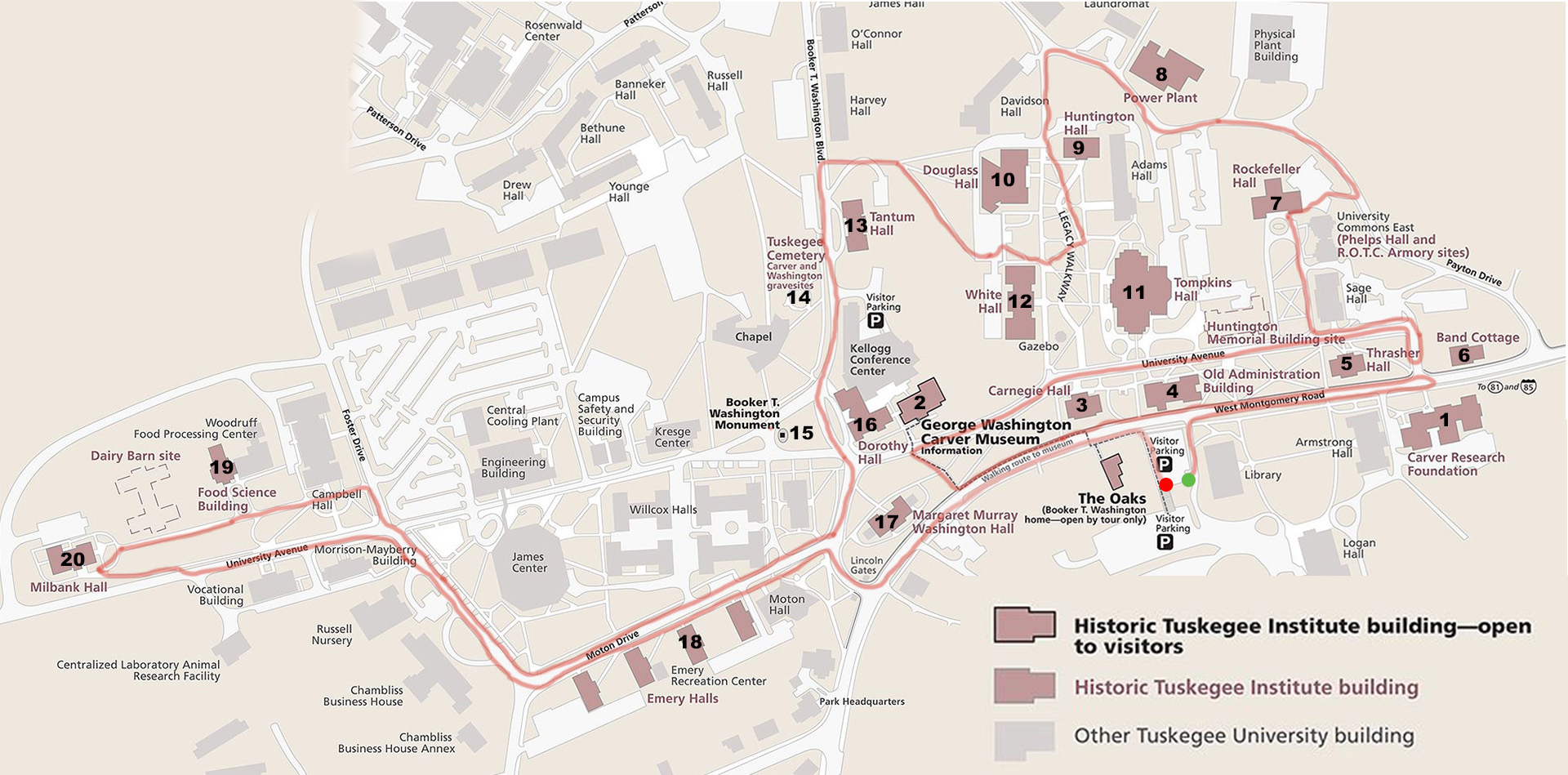 tuskegee university campus map Tuskegee Institute National Historic Site Touring The Historic tuskegee university campus map