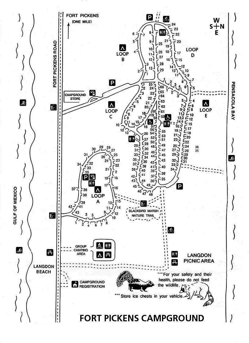 Fort Pickens Campground Map