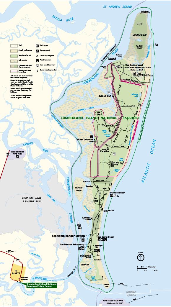 cumberland island national seashore park map