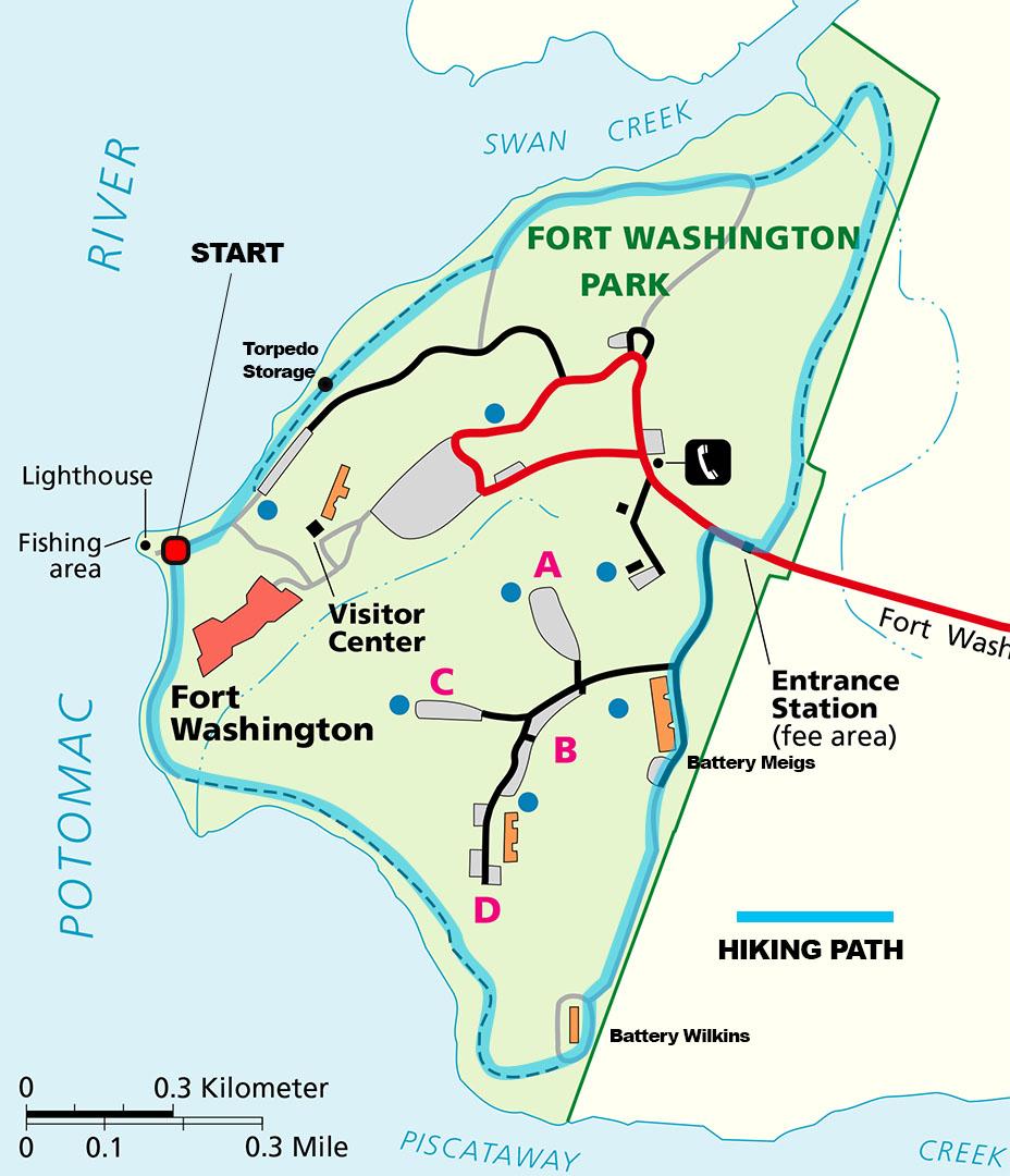 Fort Washington Map.Fort Washington Park Park Loop Hike