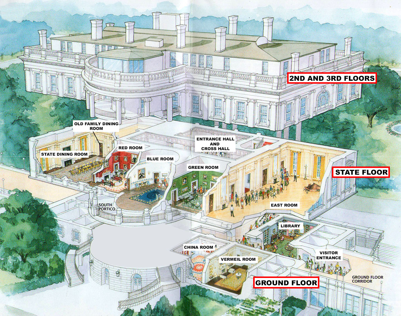 Presidents park white house white house tour diagram of room visited on the white house tour click to enlarge ccuart Gallery