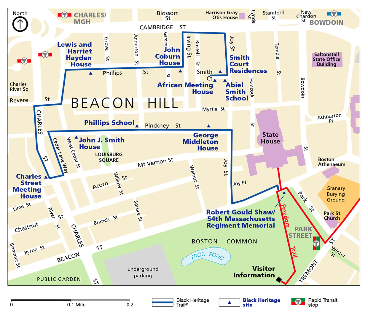Boston Map Historical Sites.Boston African American National Historic Site Park Map